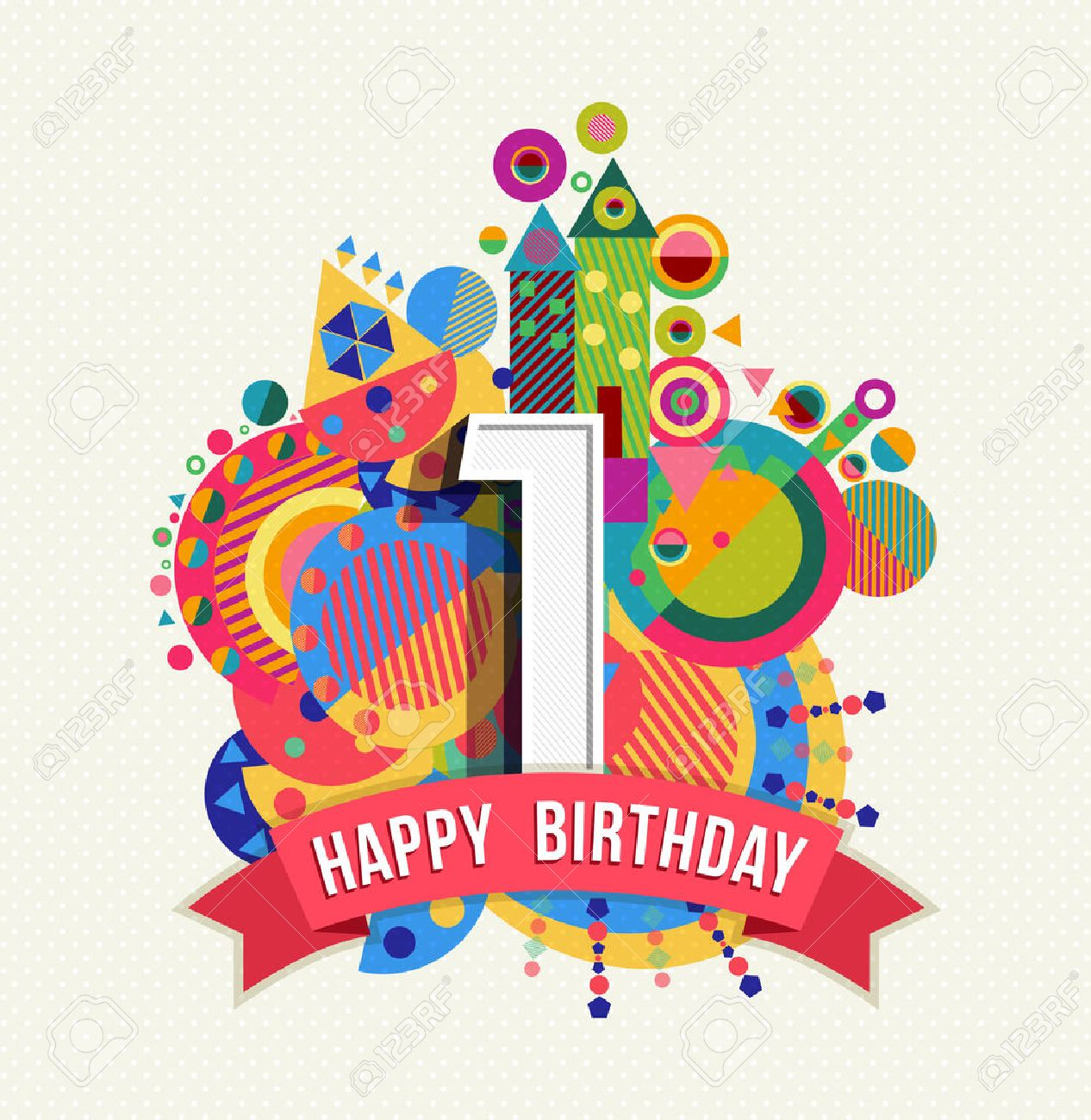 Happy Birthday one 1 year, fun design with number, text label and colorful geometry element. Ideal for poster or greeting card. EPS10 vector. - 50199042