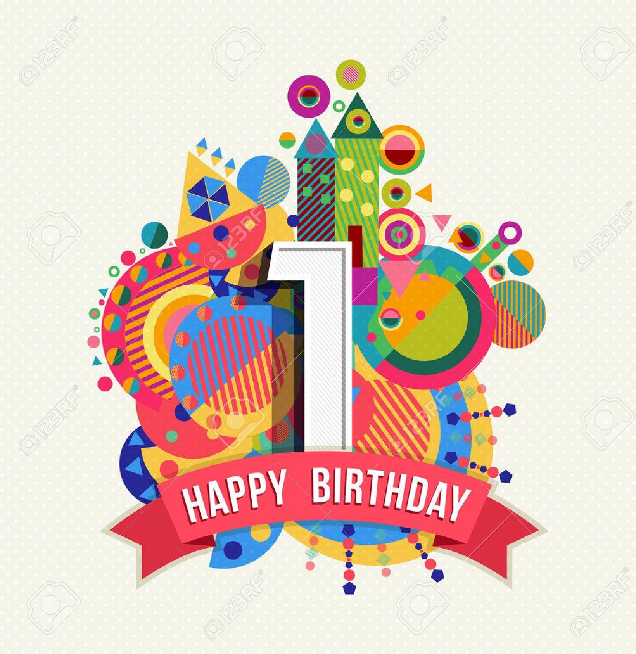 Image Anniversaire 1 An joyeux anniversaire un 1 an, conception d'amusement avec le numéro