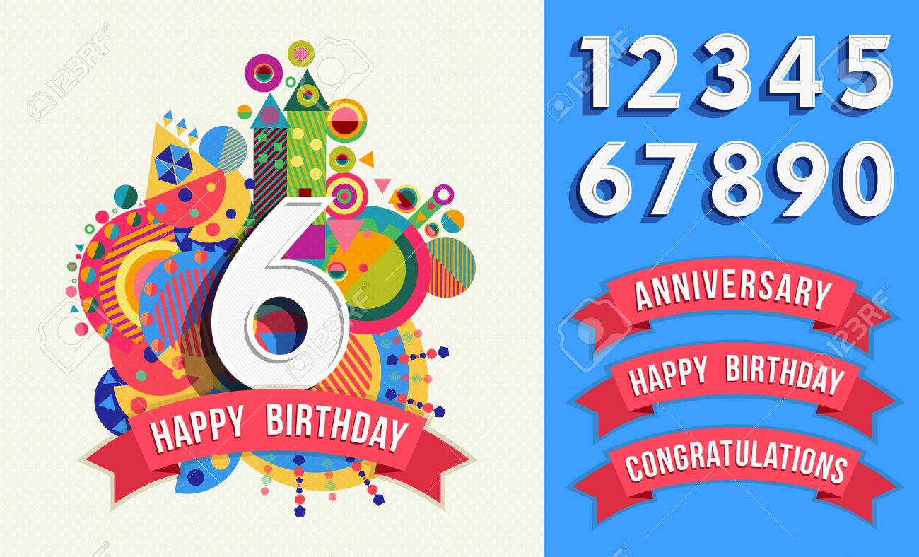 happy birthday card template with vibrant color fun shapes includes