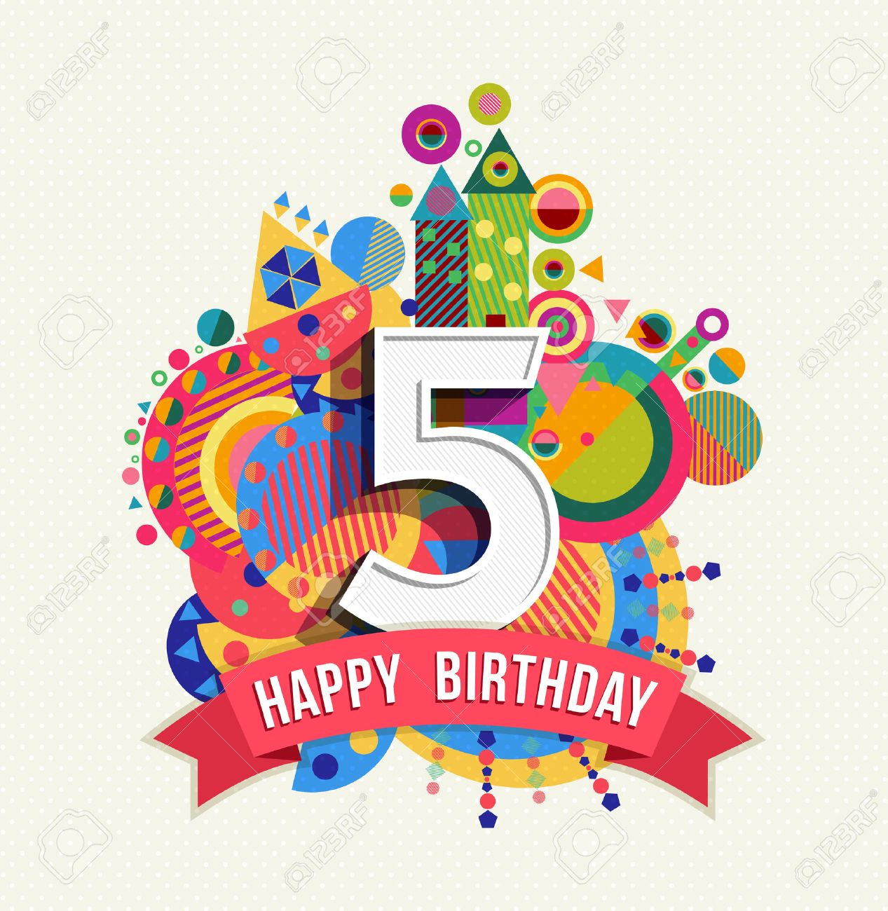 Happy Birthday five 5 year, fun design with number, text label and colorful geometry element. Ideal for poster or greeting card. EPS10 vector. - 50199047