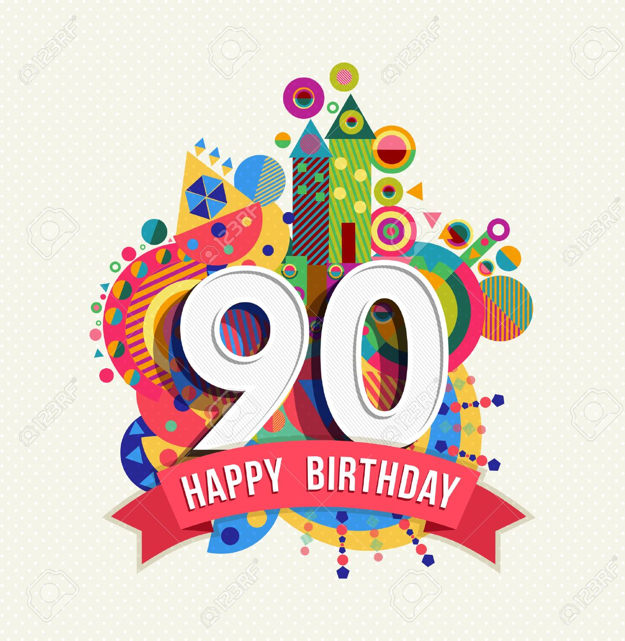 Happy Birthday ninety 90 year, fun celebration greeting card with number,  text label and