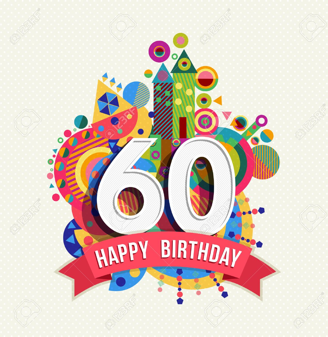 Happy Birthday sixty 60 year, fun celebration greeting card with number,  text label and