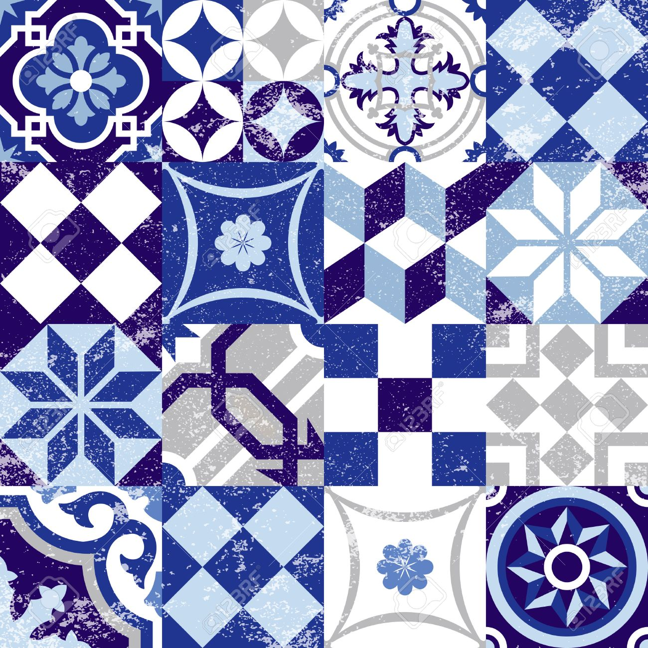 Vintage patchwork seamless pattern background with traditional blue tile decoration, classic mosaic style. EPS10 vector. - 50354349