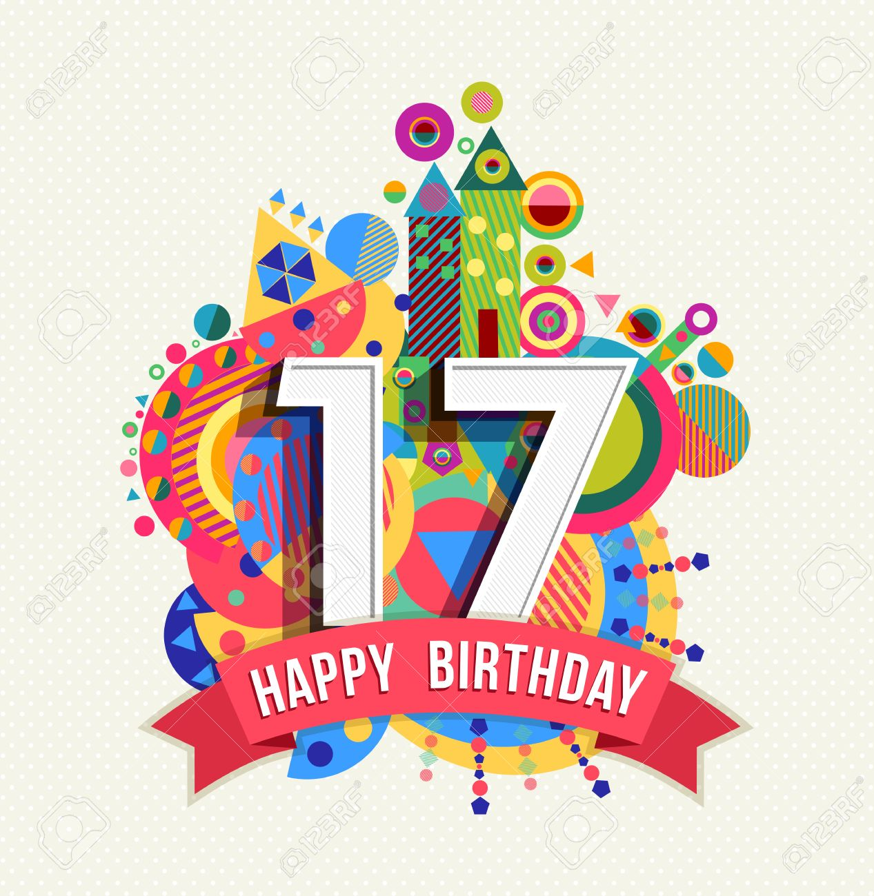 Favoloso Happy Birthday Seventeen 17 Year, Fun Celebration Greeting Card  ZL98