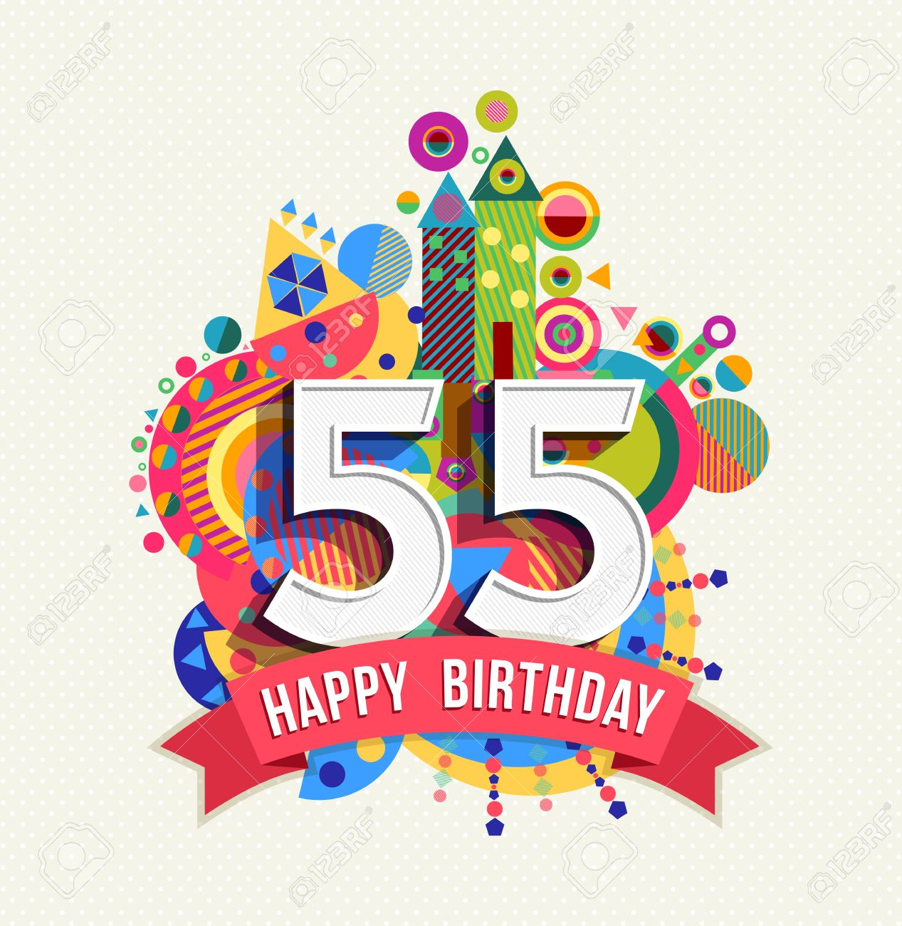 Happy Birthday fifty five 55 year, fun celebration greeting card with number, text label and colorful geometry design. - 51067758