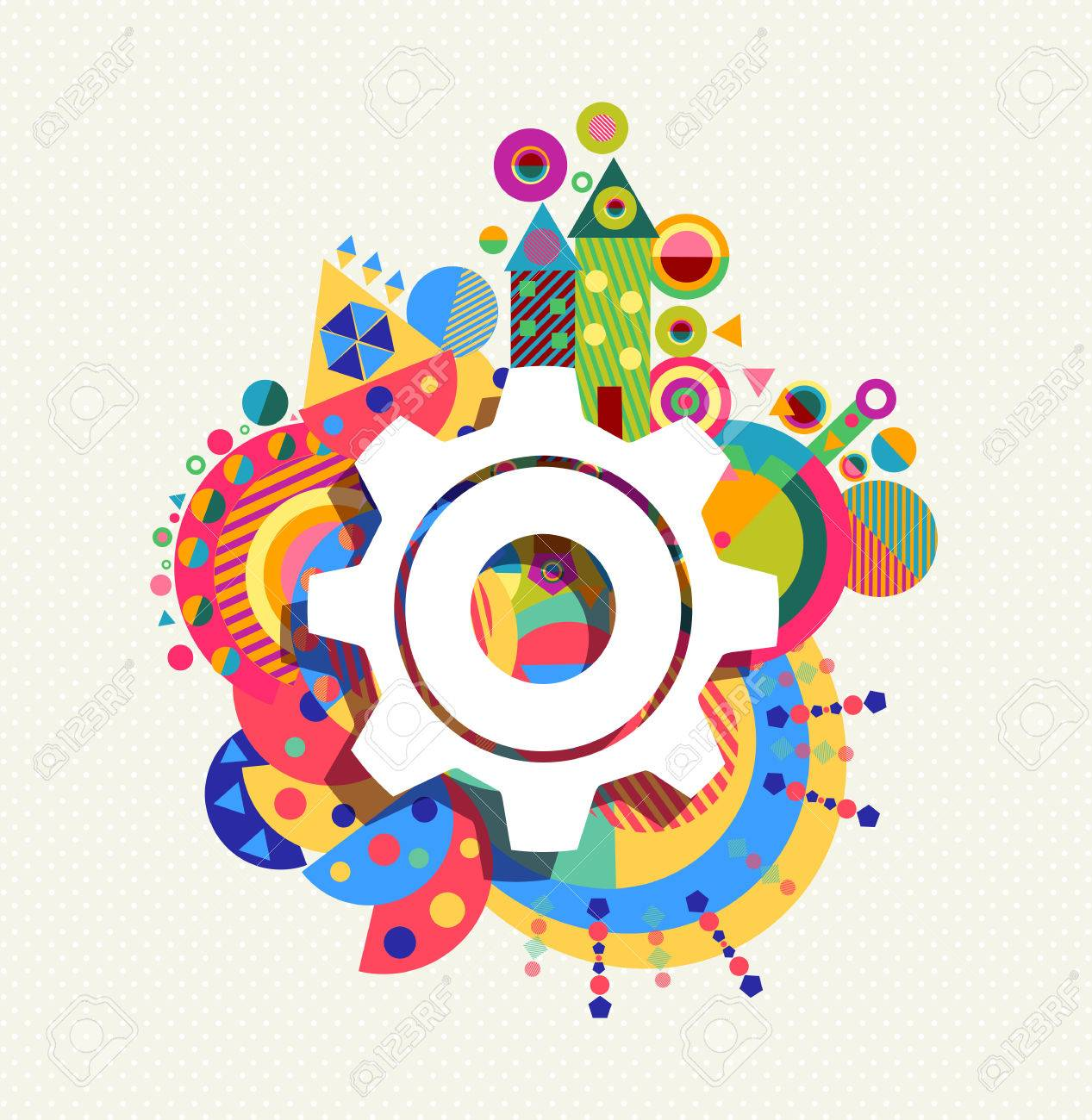 Gear wheel icon configuration concept design with colorful vibrant geometry shapes background. EPS10 vector. - 51161924