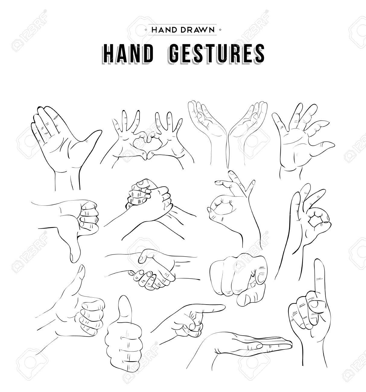 Handmade sketches set of hand gesture signs. Universal social communication icons. vector. - 51425356