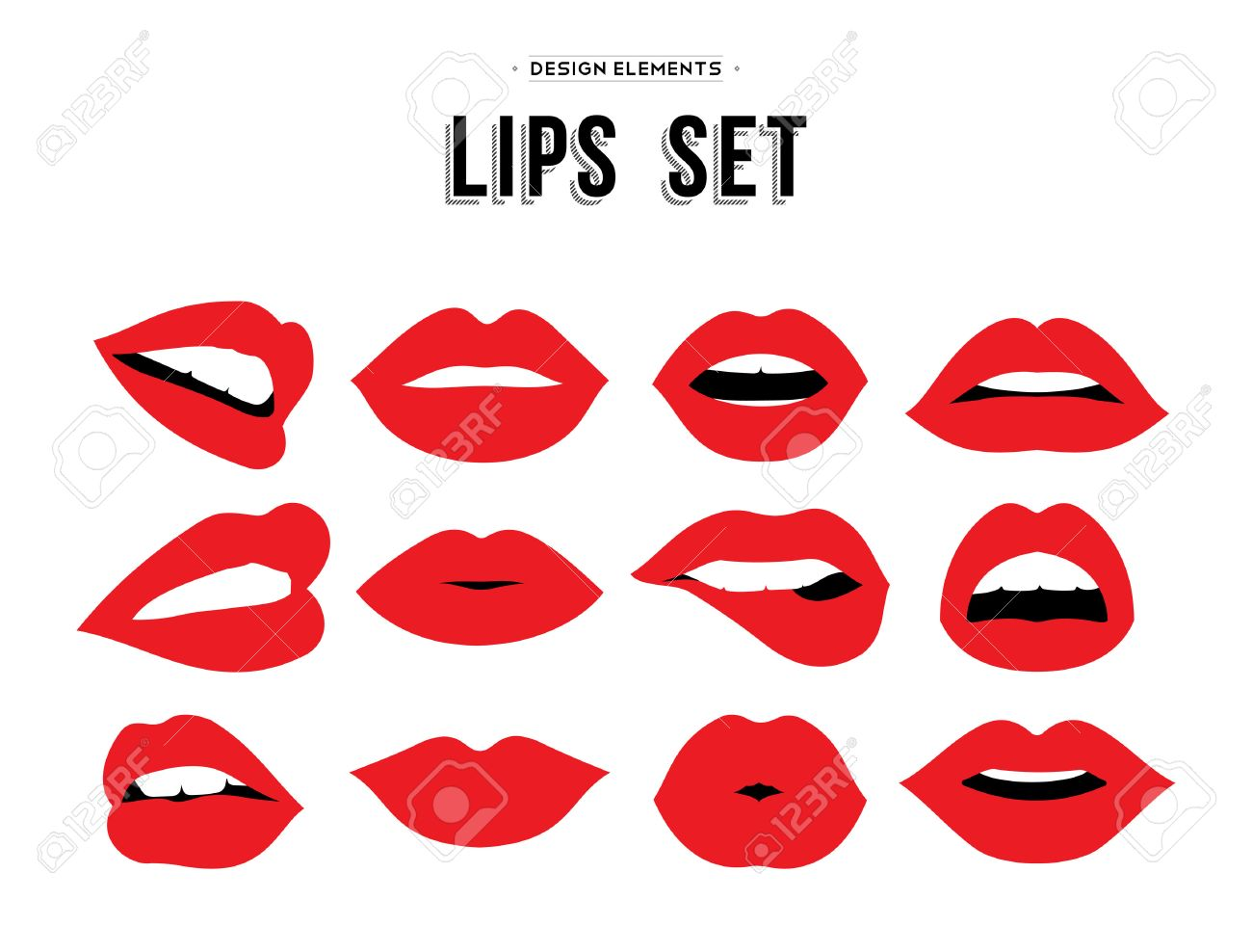 Woman's lip gestures set. Girl mouths close up with red lipstick makeup expressing different emotions. vector. - 51425560