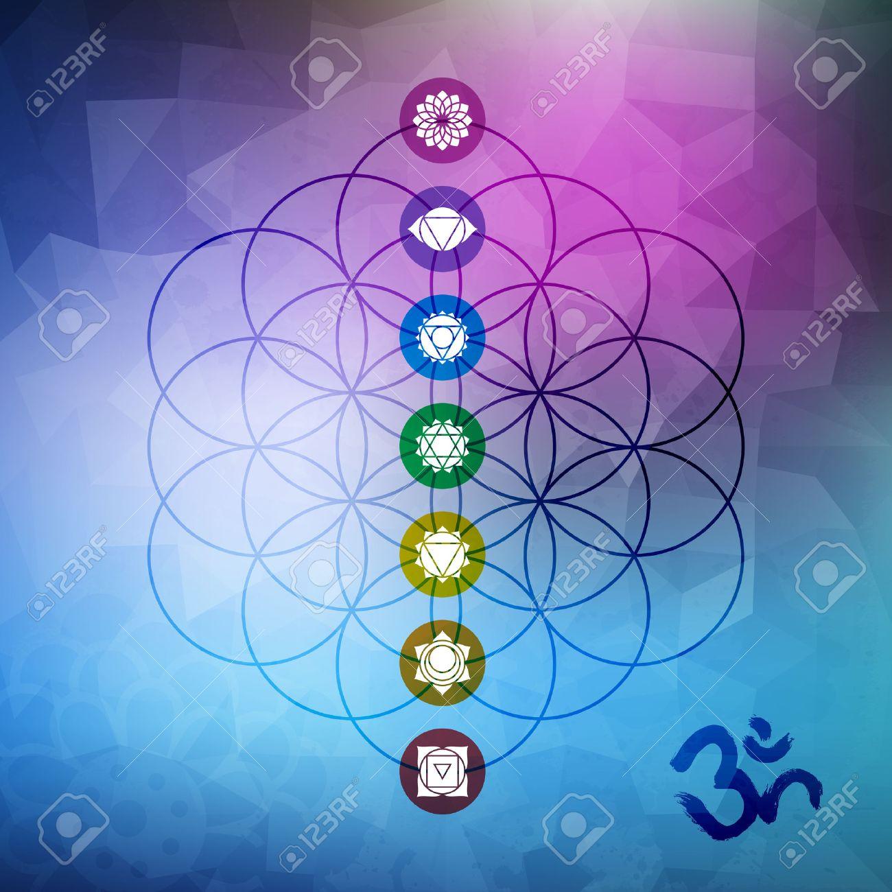 La géométrie sacrée conception abstraite, fleur de la vie aperçu avec les principaux symboles de chakra sur gemetric faible bruit de fond poly. Banque d'images - 52162436