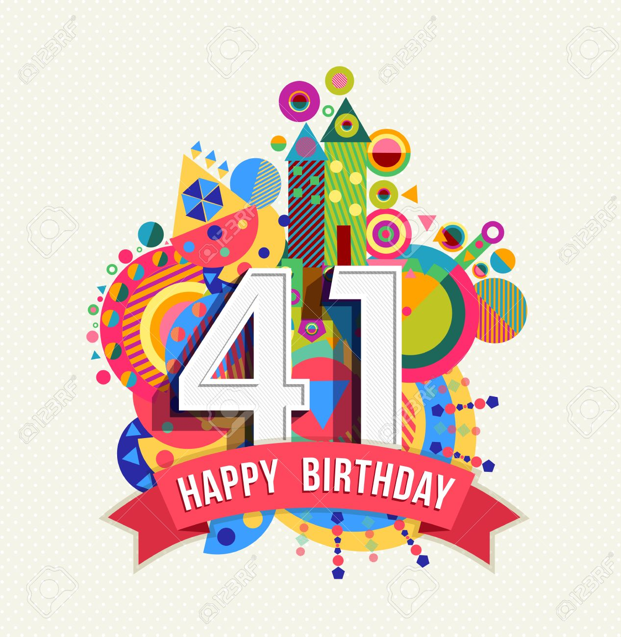 Happy Birthday forty one 41 year Stock Vector - 52425909