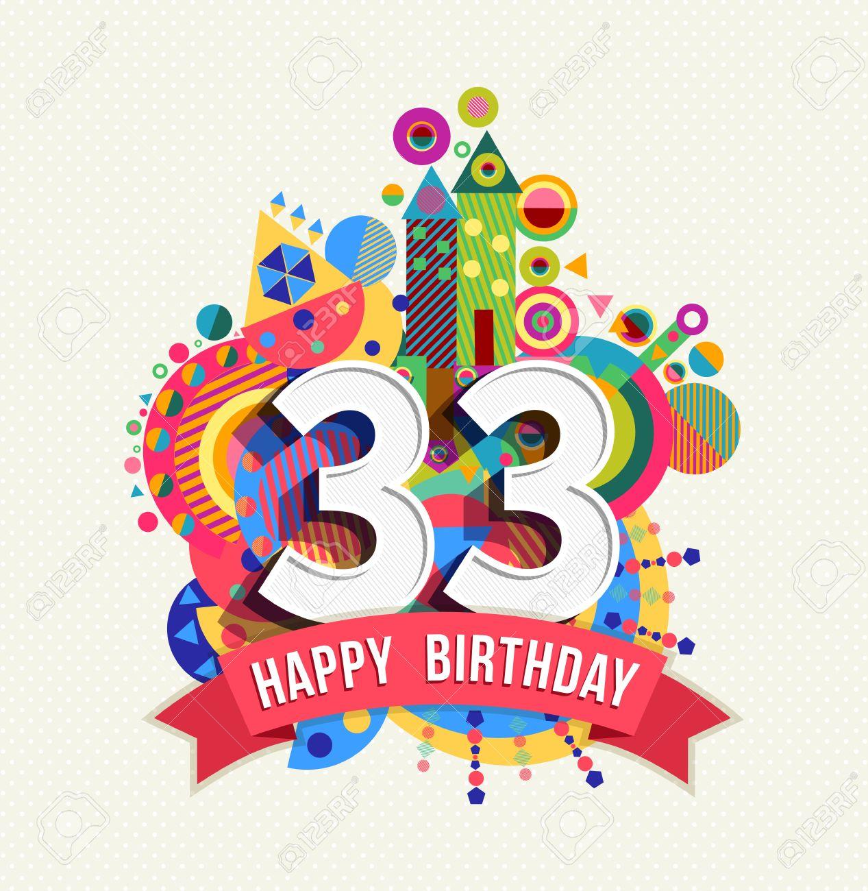 Gelukkige Verjaardag Drieendertig 33 Jaar Royalty Vrije Cliparts