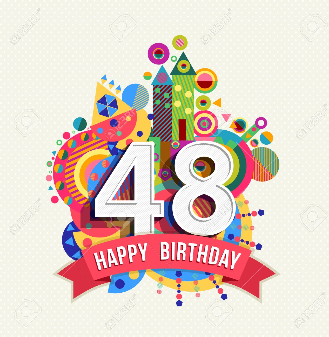 Happy Birthday Forty Eight 48 Year Fun Celebration Anniversary Greeting Card With Number