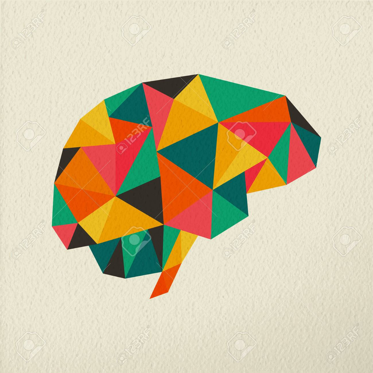 Art color psychology - Color Psychology Human Brain Colorful Low Poly Concept Illustration On Paper Texture Background