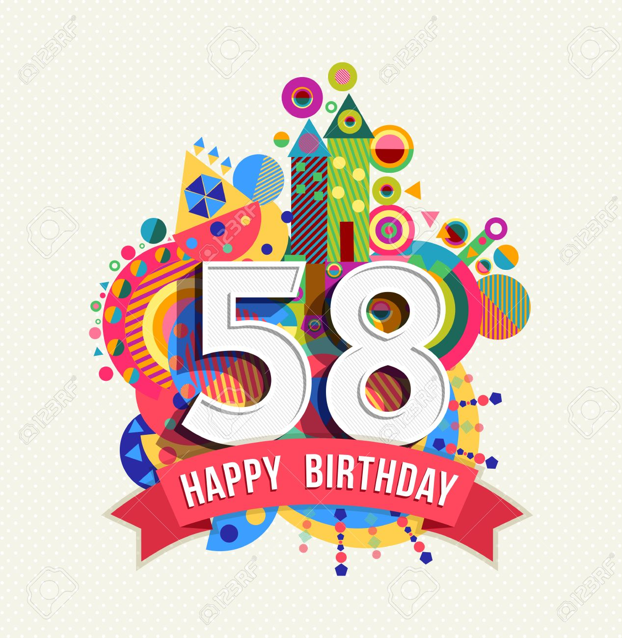 Happy Birthday fifty eight 58 year Stock Vector - 52426111