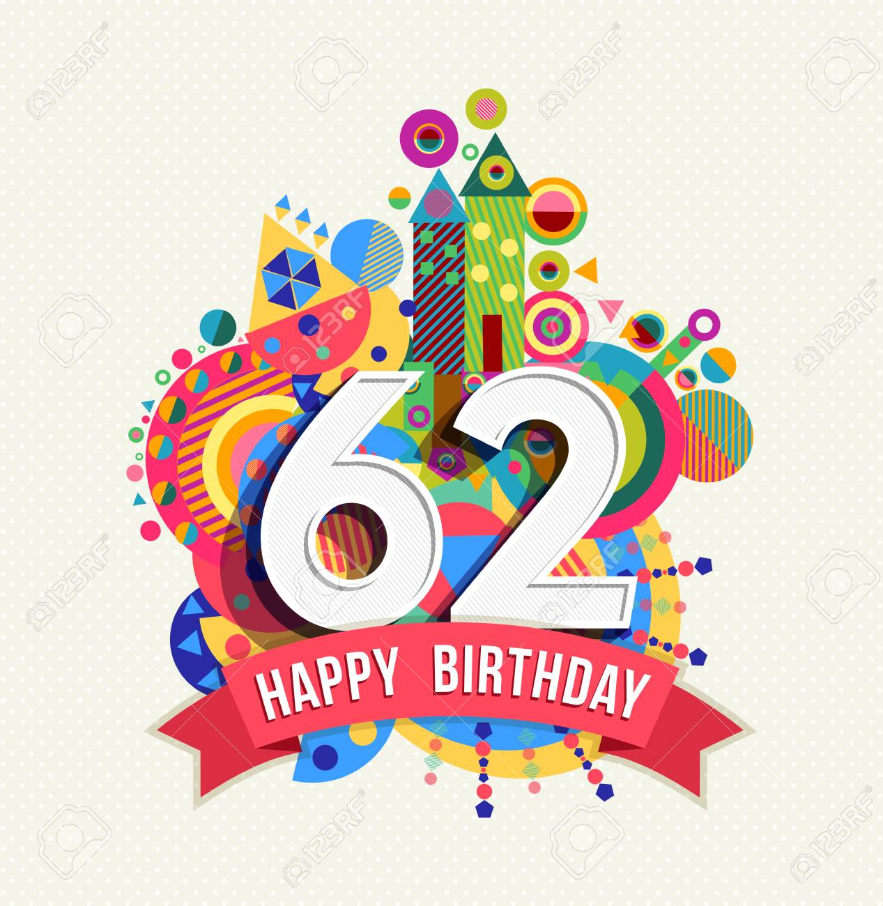 Happy Birthday sixty two 62 year Stock Vector - 52426136