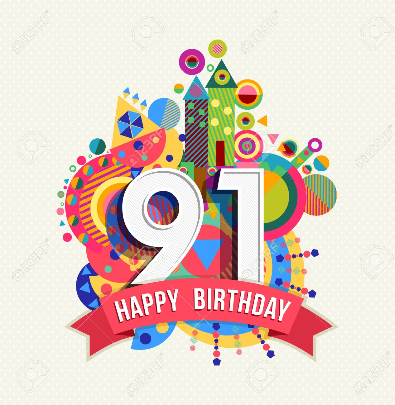 Happy Birthday ninety one 91 year Stock Vector - 52426531