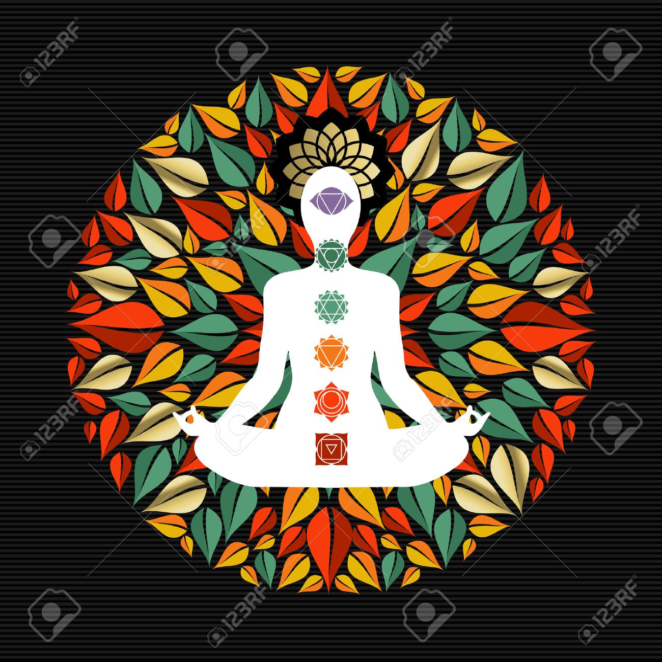 Mandala made of tree leaves with body silhouette doing yoga lotus pose and chakra icons. - 52426583