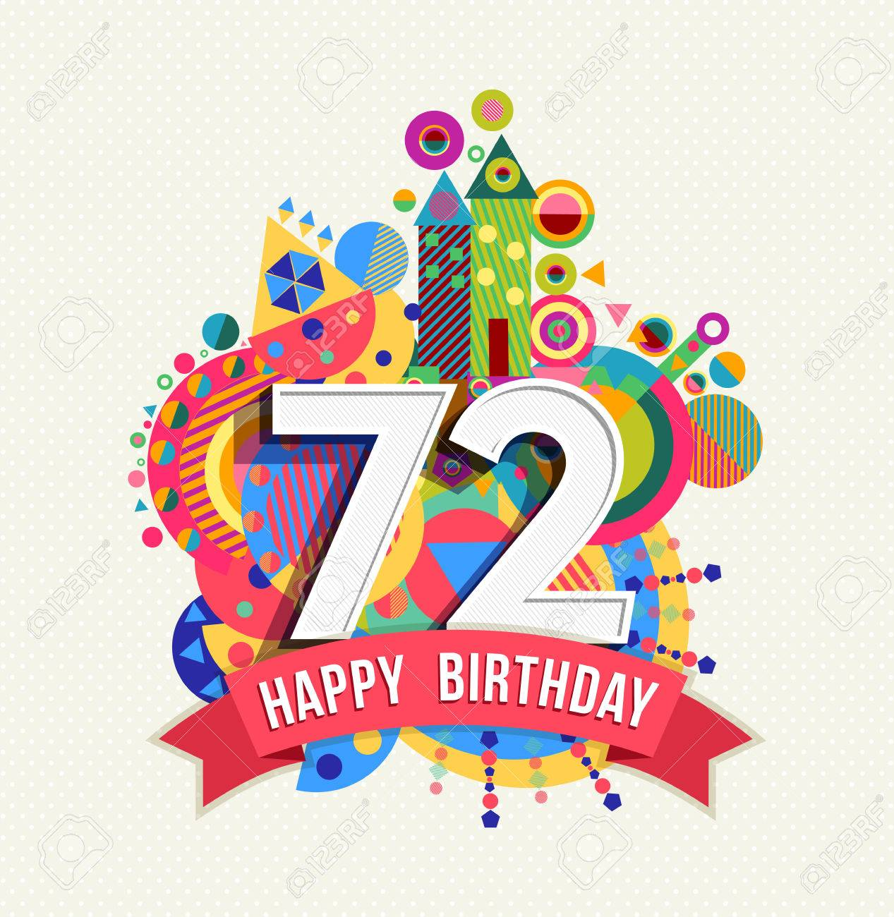 Happy Birthday seventy two 72 year Stock Vector - 52426602