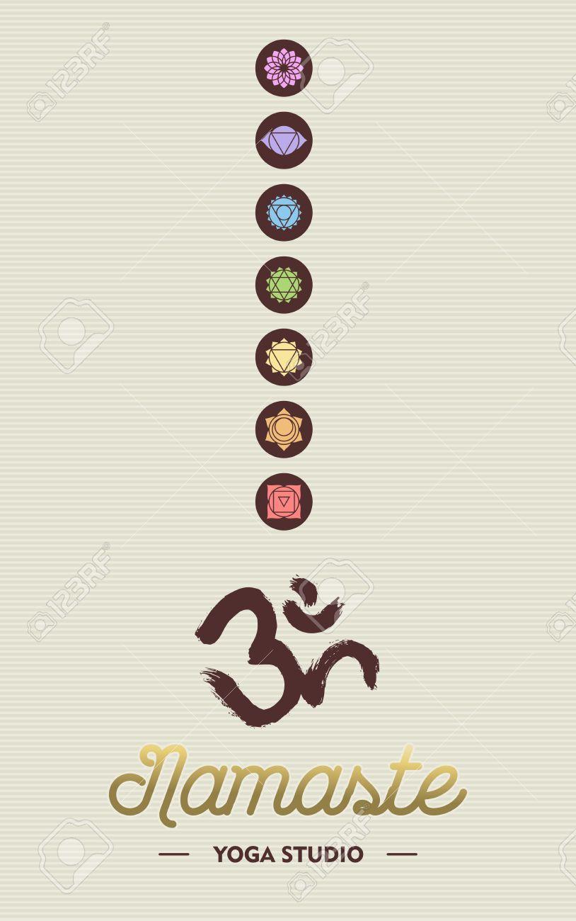 Namaste Yoga-Studio-Konzept-Vorlage Für Das Geschäft Mit Chakra ...