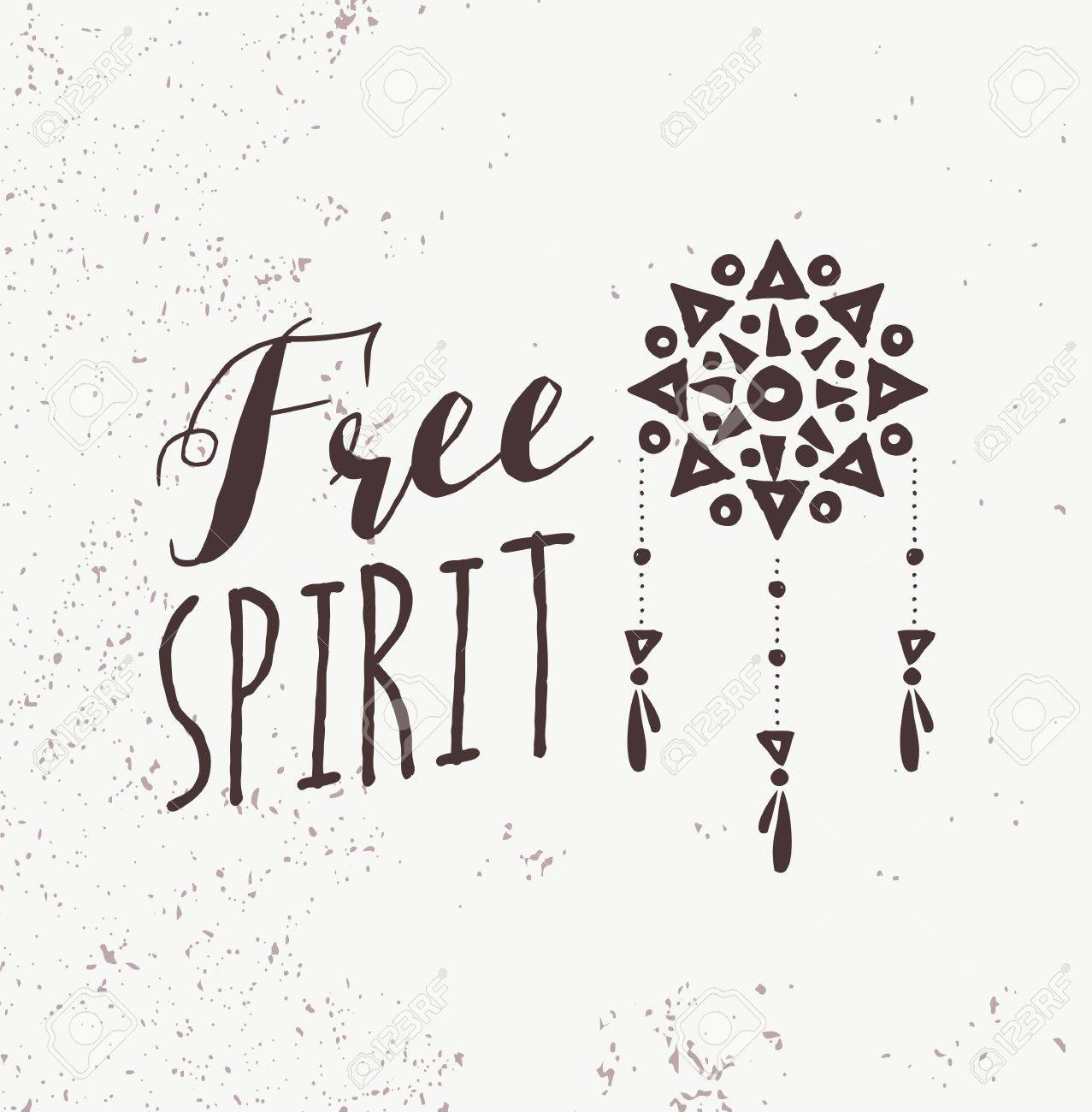 Be A Free Spirit Quote Boho Black And White Illustration With