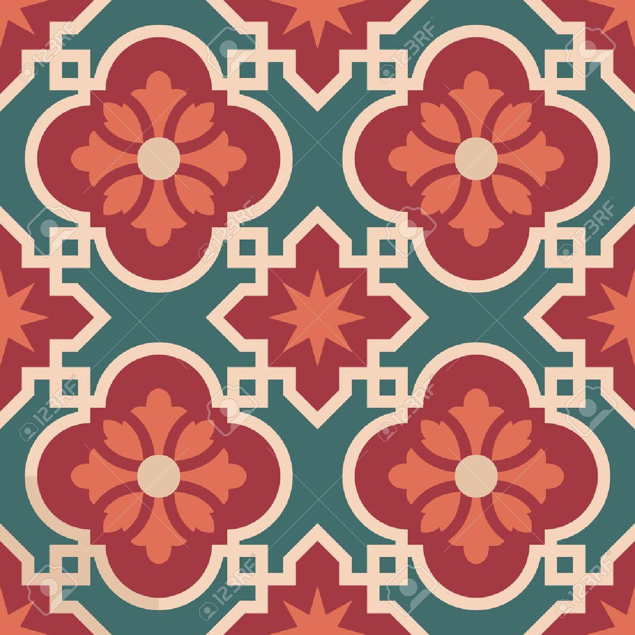 Vintage ceramic mosaic floor tile seamless pattern, traditional ornate red floral design. EPS10 vector. - 55093996