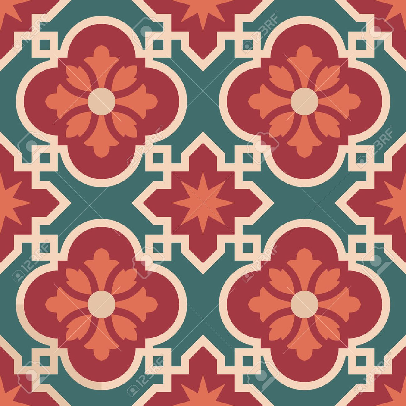 Vintage Ceramic Mosaic Floor Tile Seamless Pattern Traditional