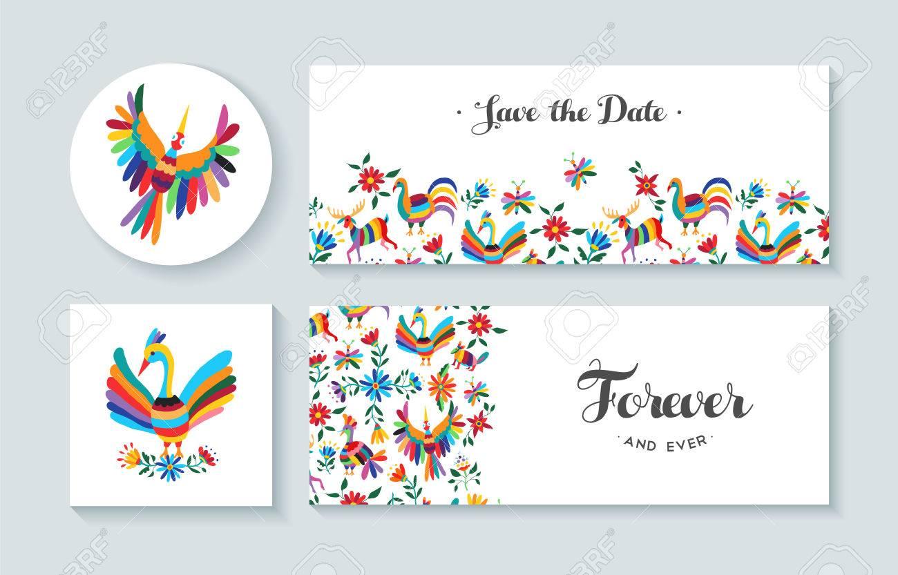 Tarjetas De Invitación Conjunto Con Los Diseños De Colores De Primavera De Flores Y Animales Incluye Texto Cita Perfecta Para El Aniversario Boda O