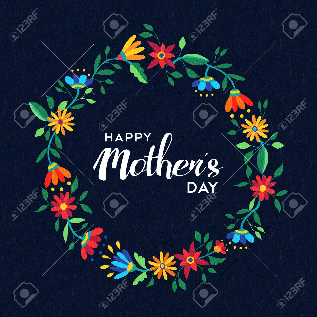 Happy mothers day quote design with cute flower wreath illustration