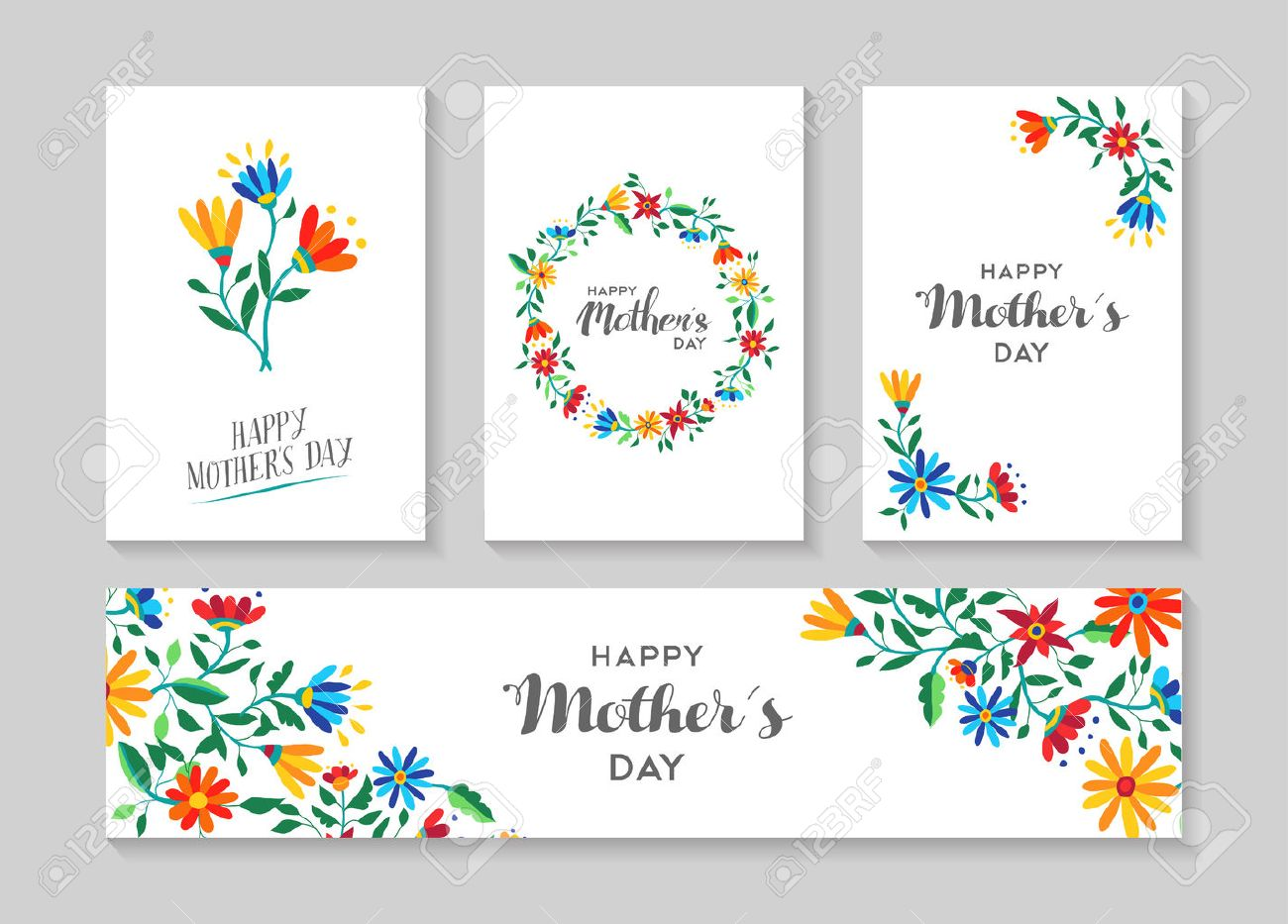Set of retro flower cards template with spring time illustrations for special mothers day family event. EPS10 vector. - 55087035