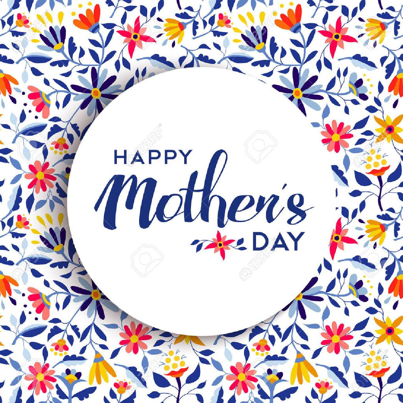 Happy mothers day quote badge design over spring flower background, ideal for special event greeting card. EPS10 vector. - 56045521