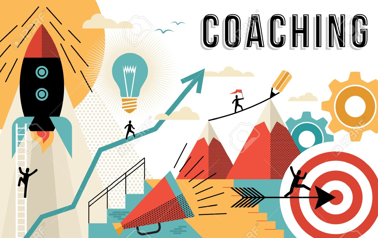 Coaching concept illustration, achieve your business goals at work. Flat art outline style elements related to job success. EPS10 vector. - 56045522