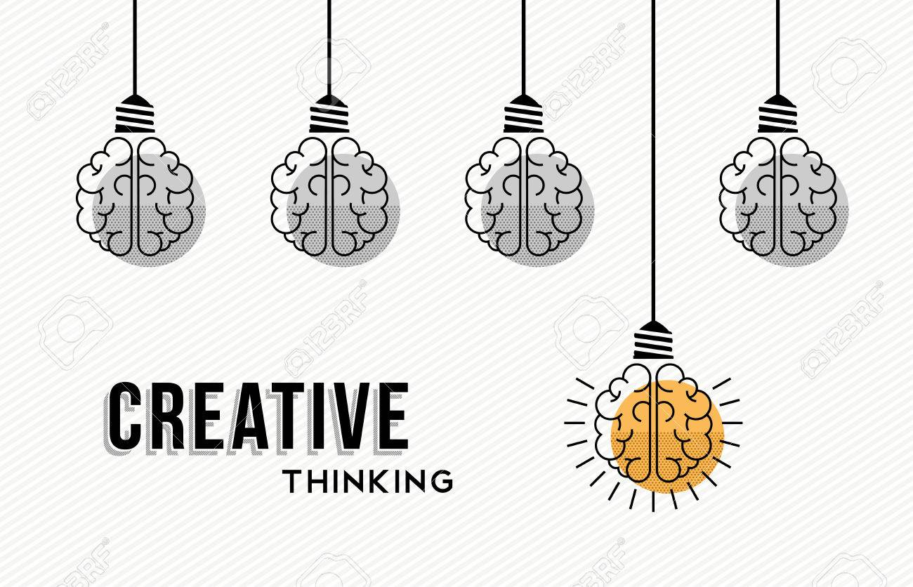 Modern creative thinking concept design, human brains in black and white with colorful one getting an idea. - 56349056