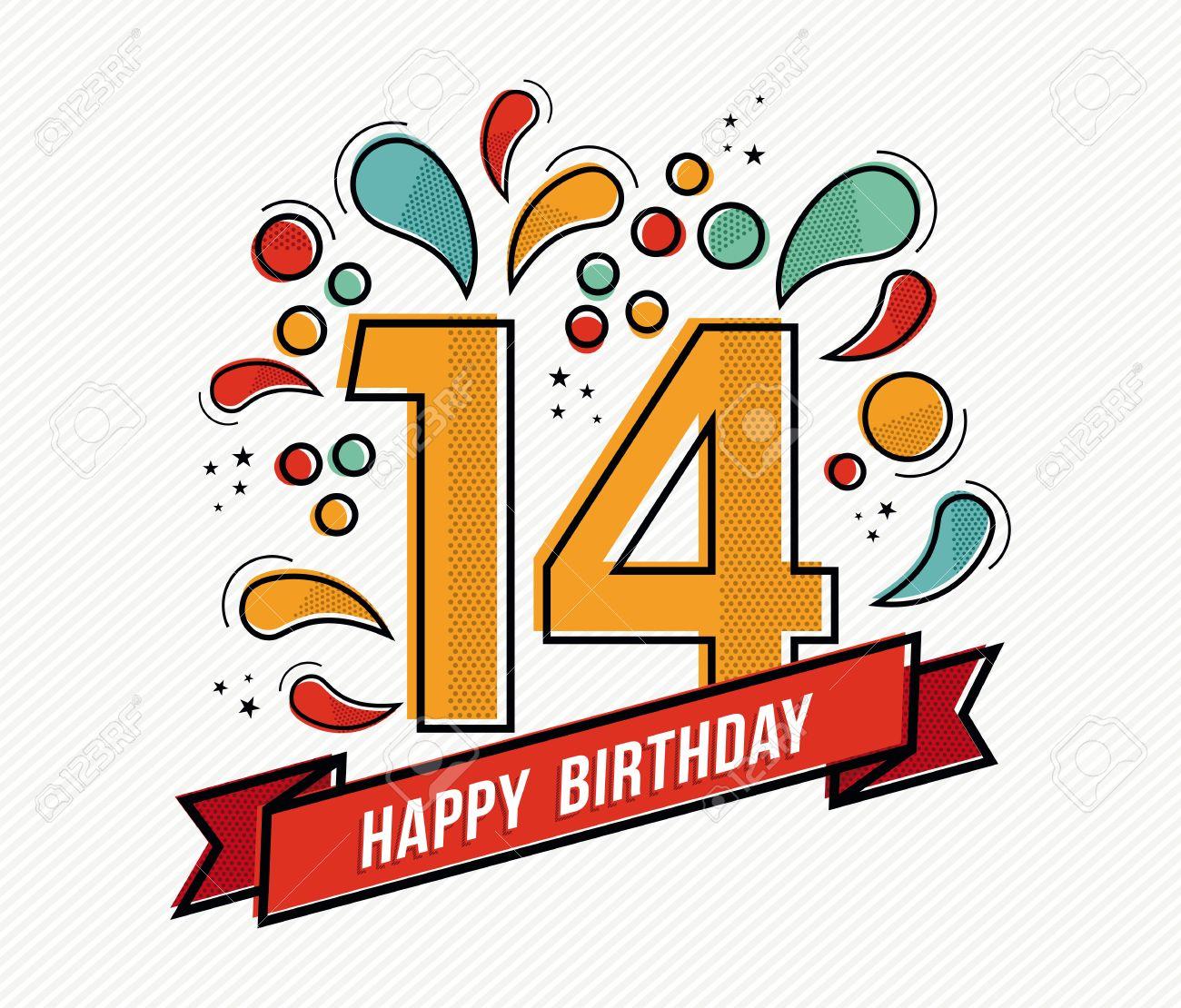 Alles Gute Zum Geburtstag Zahl 14 Grußkarte Für 14 Jahre In Der