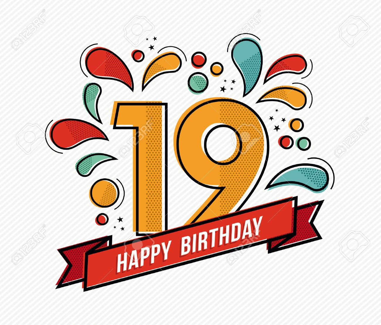 Happy Birthday Number 19 Greeting Card For Nineteen Year In – 19 Birthday Cards