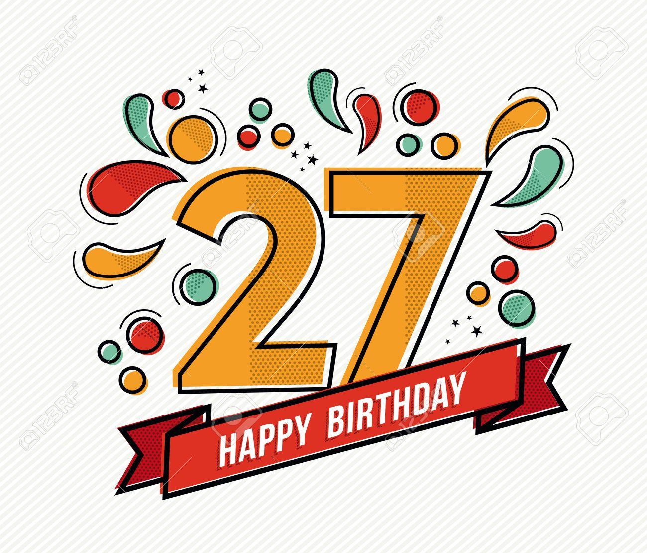 Numero Joyeux Anniversaire 27 Carte De Voeux Pour 27 Annees Dans L
