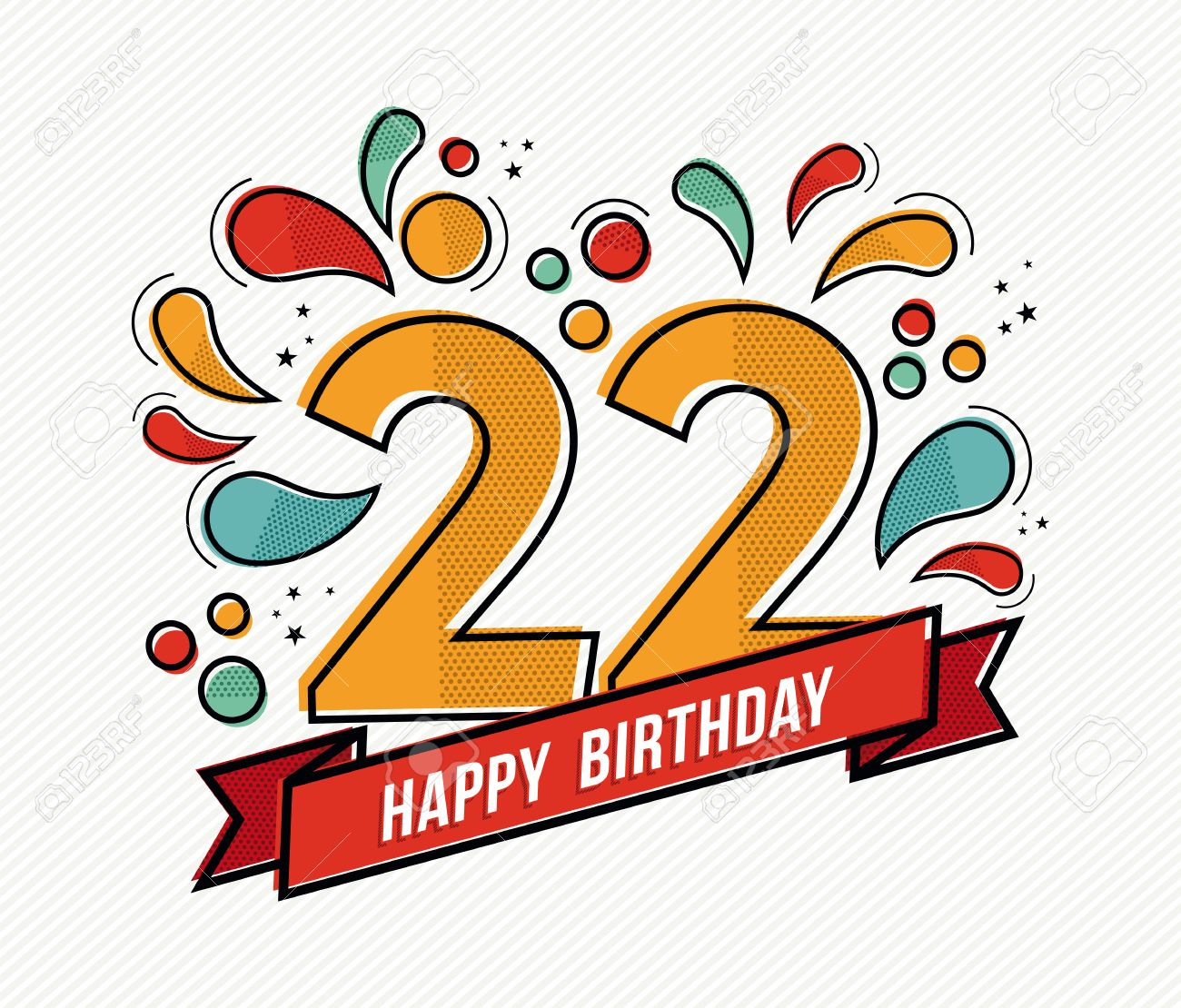 Happy Birthday Number 22 Greeting Card For Twenty Two Year In Modern Flat Line Art