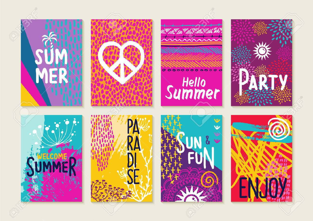 Set Of Happy Summer Party Invitation Greeting Cards. Creative ...