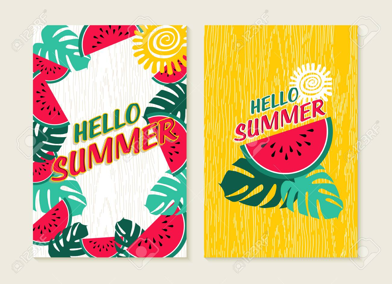 Hello Summer Set Of Greeting Card Lettering Design With Colorful Tropical  Jungle Art And Watermelon Fruit
