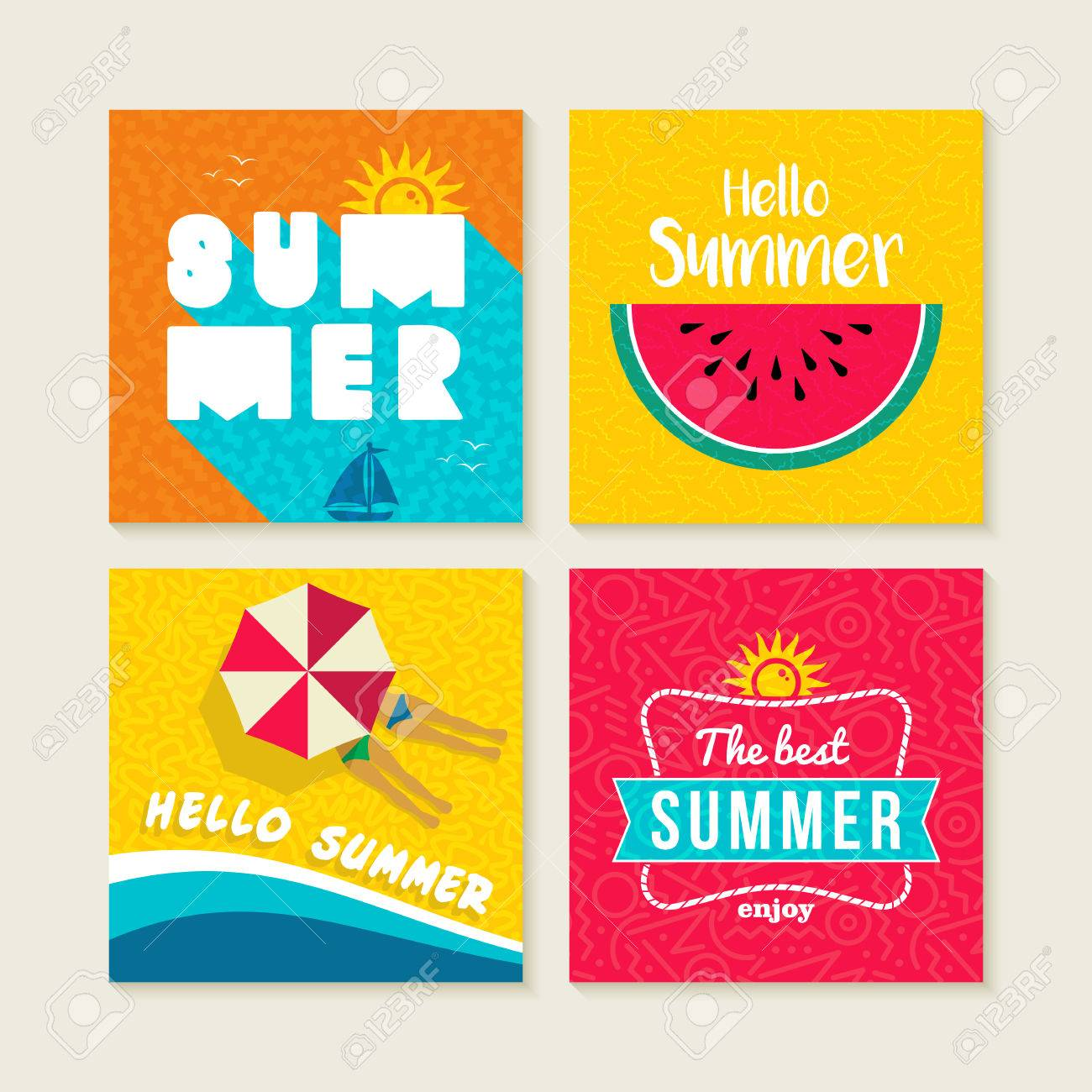 Hello Summer Vacation Set Of Happy Illustrations With Text Quotes Colorful Fruit Design Beach