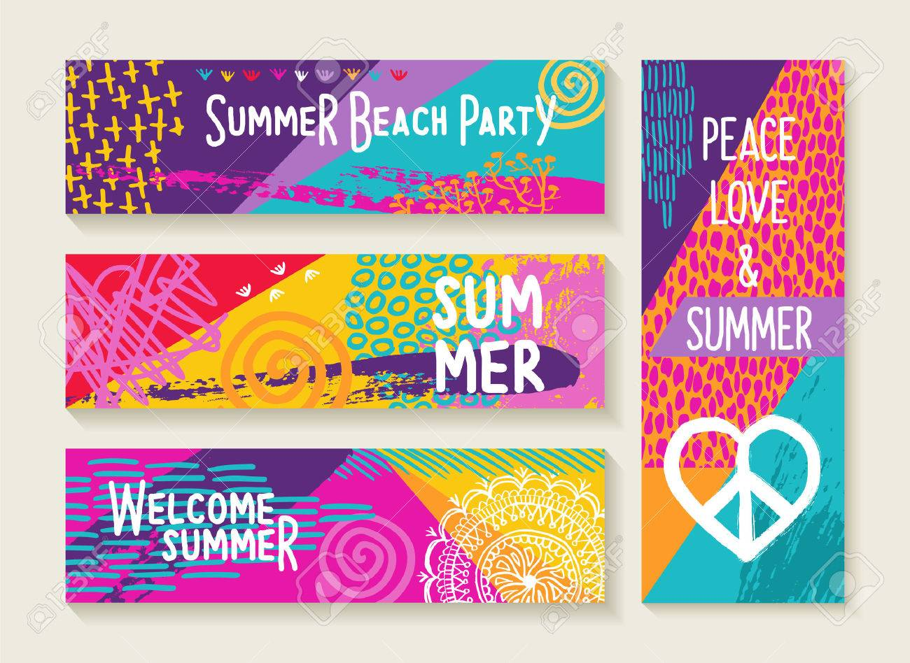 Set Of Colorful Summer Designs Happy Elements And Text Quotes For Beach Party Invitation