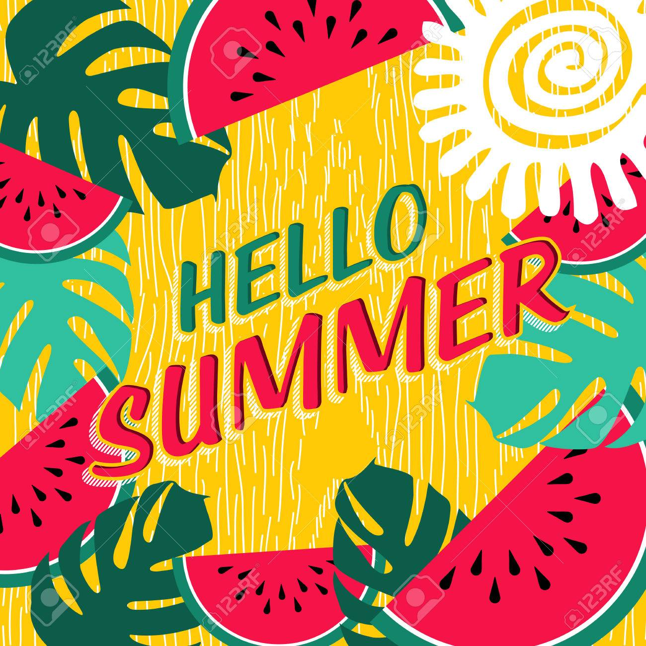 Hello Summer Lettering Design With Colorful Tropical Jungle Art And  Watermelon Fruit. Happy Quote Poster