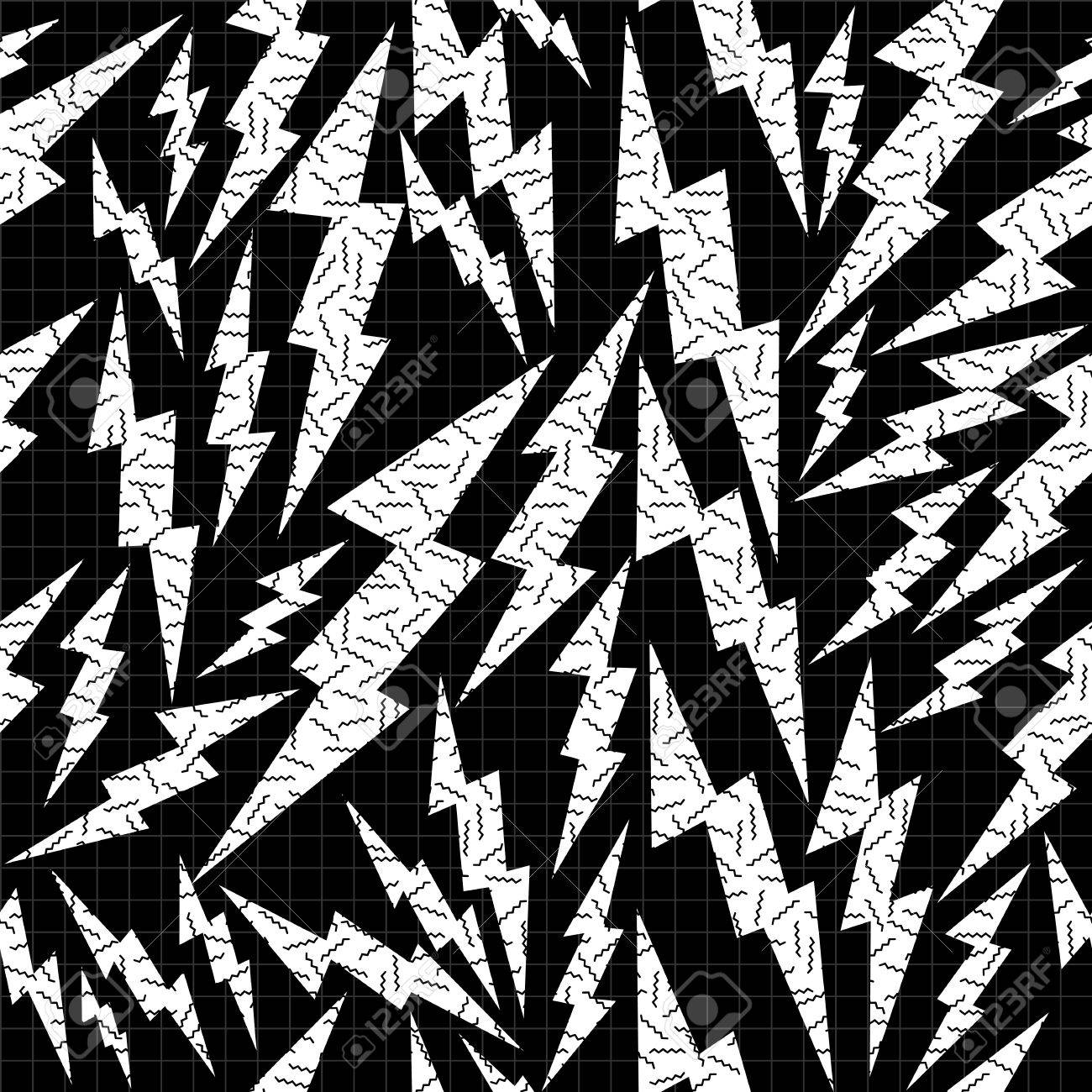 black and white retro seamless pattern with pop art thunder bolt