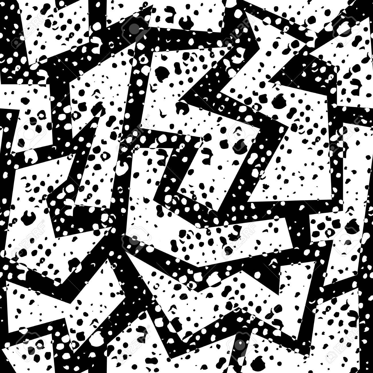 Black And White Retro 80s Seamless Pattern With Geometric Shapes ... for Geometric Shapes Design Black And White  557yll