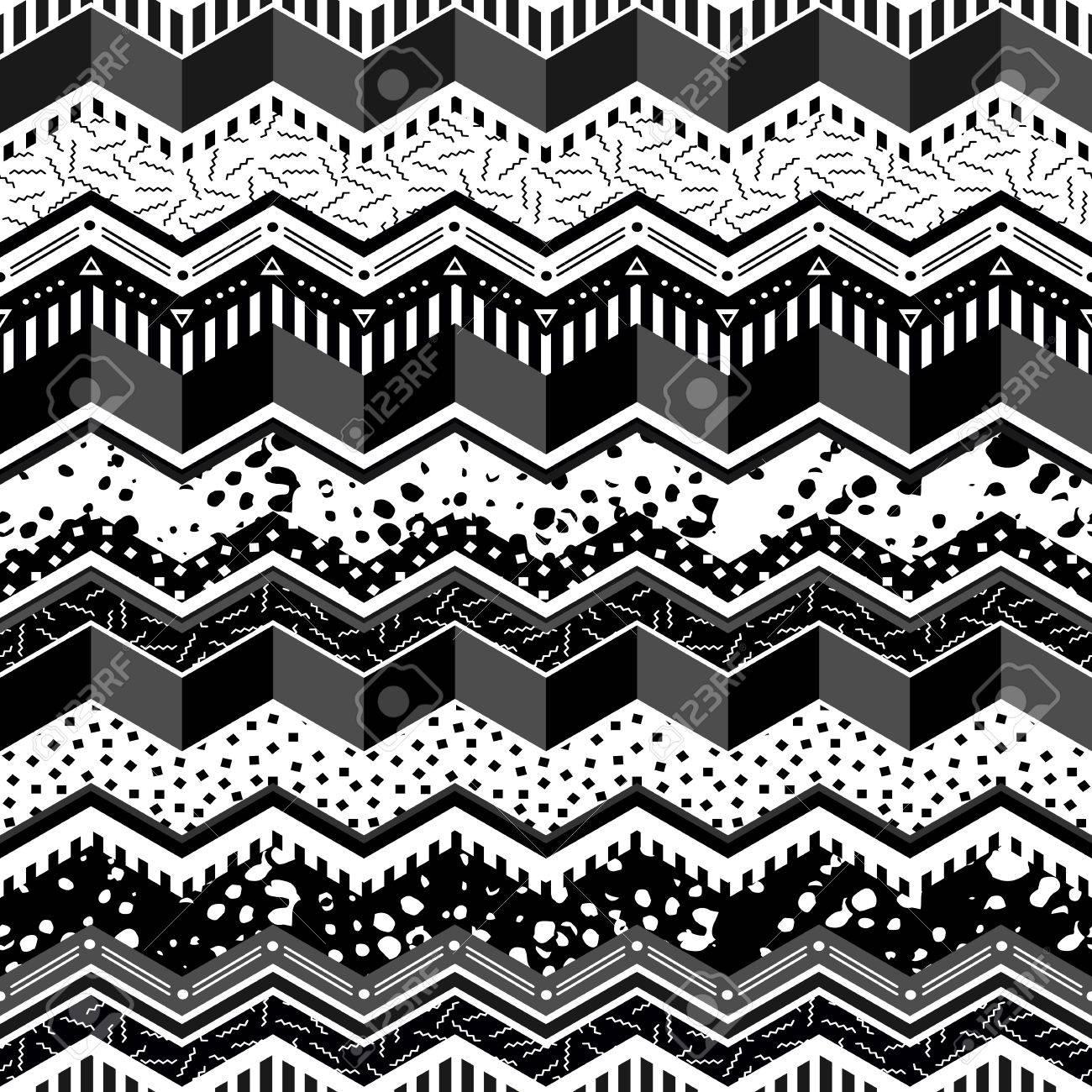 Schwarz-Weiß-Retro Nahtlose Muster Mit Abstrakten Geometrischen Form ...