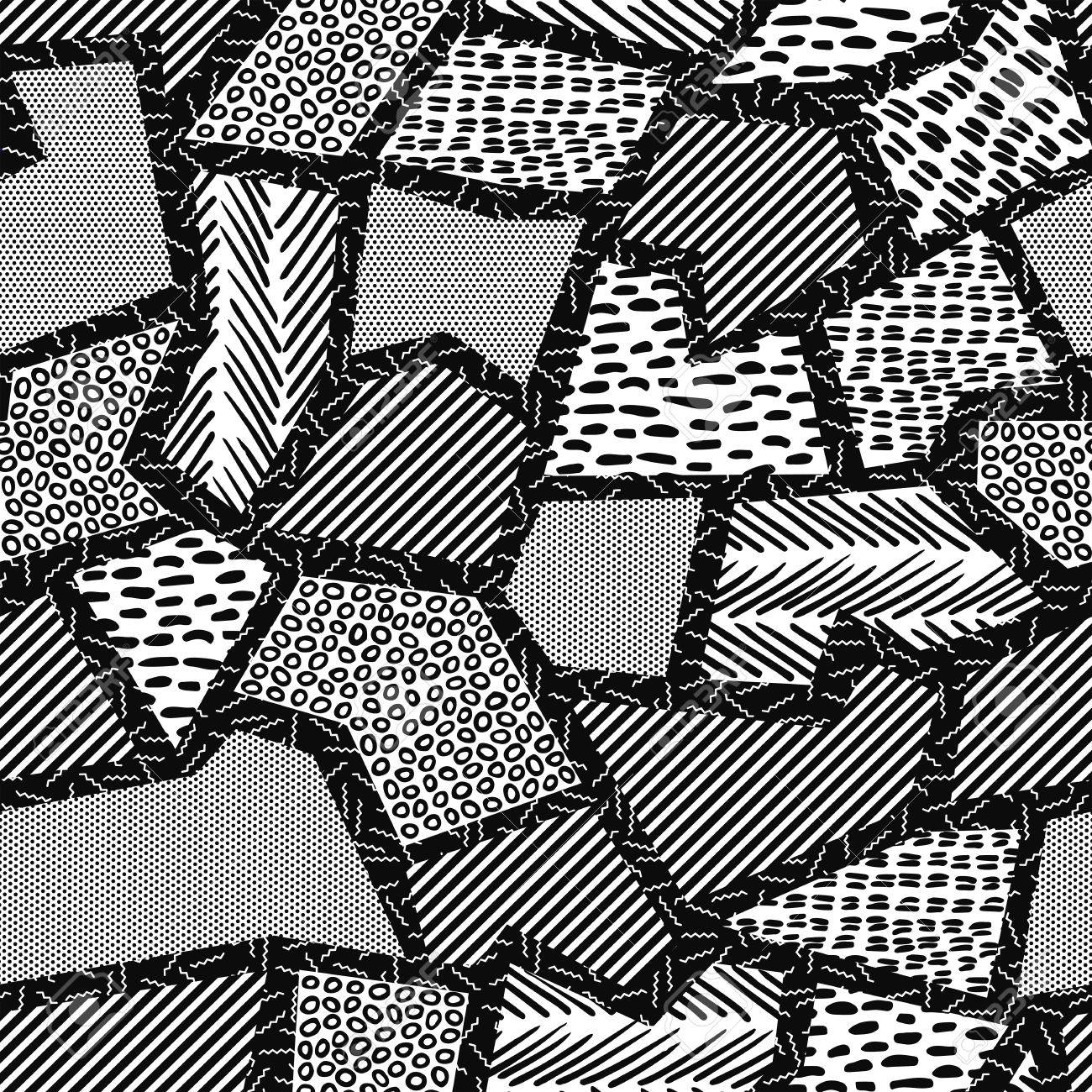 Vector vintage seamless pattern in black and white with retro geometric shape collage 80s memphis fashion style ideal for web background