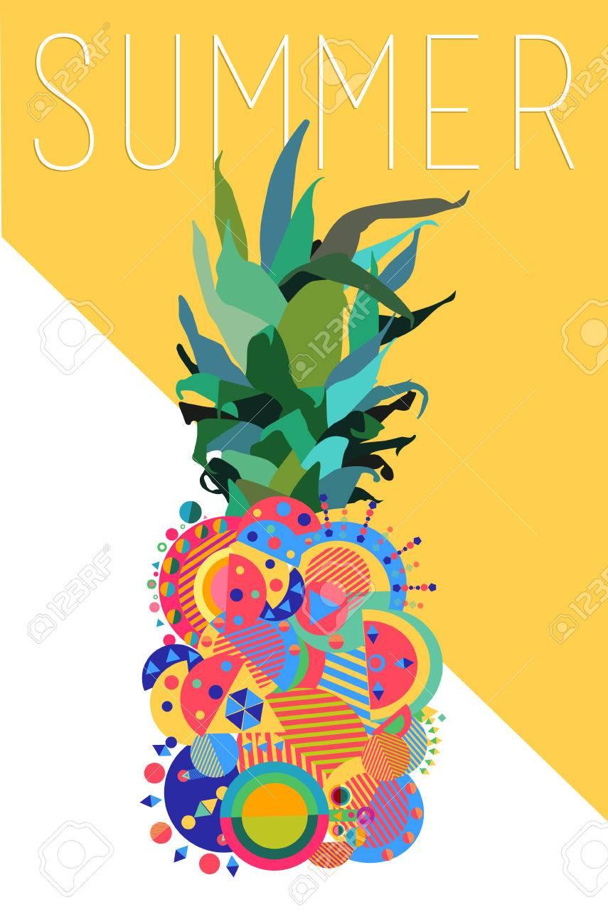 Colorful Summer Concept Illustration Of Pineapple Fruit Design ...