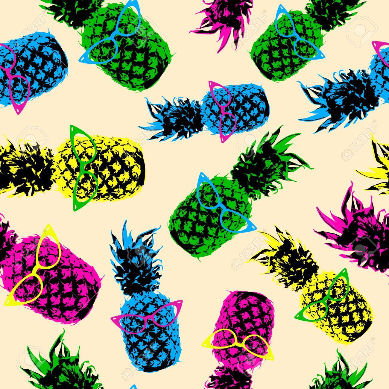 80s Retro seamless pattern d'été, les éléments d'ananas de fruits de