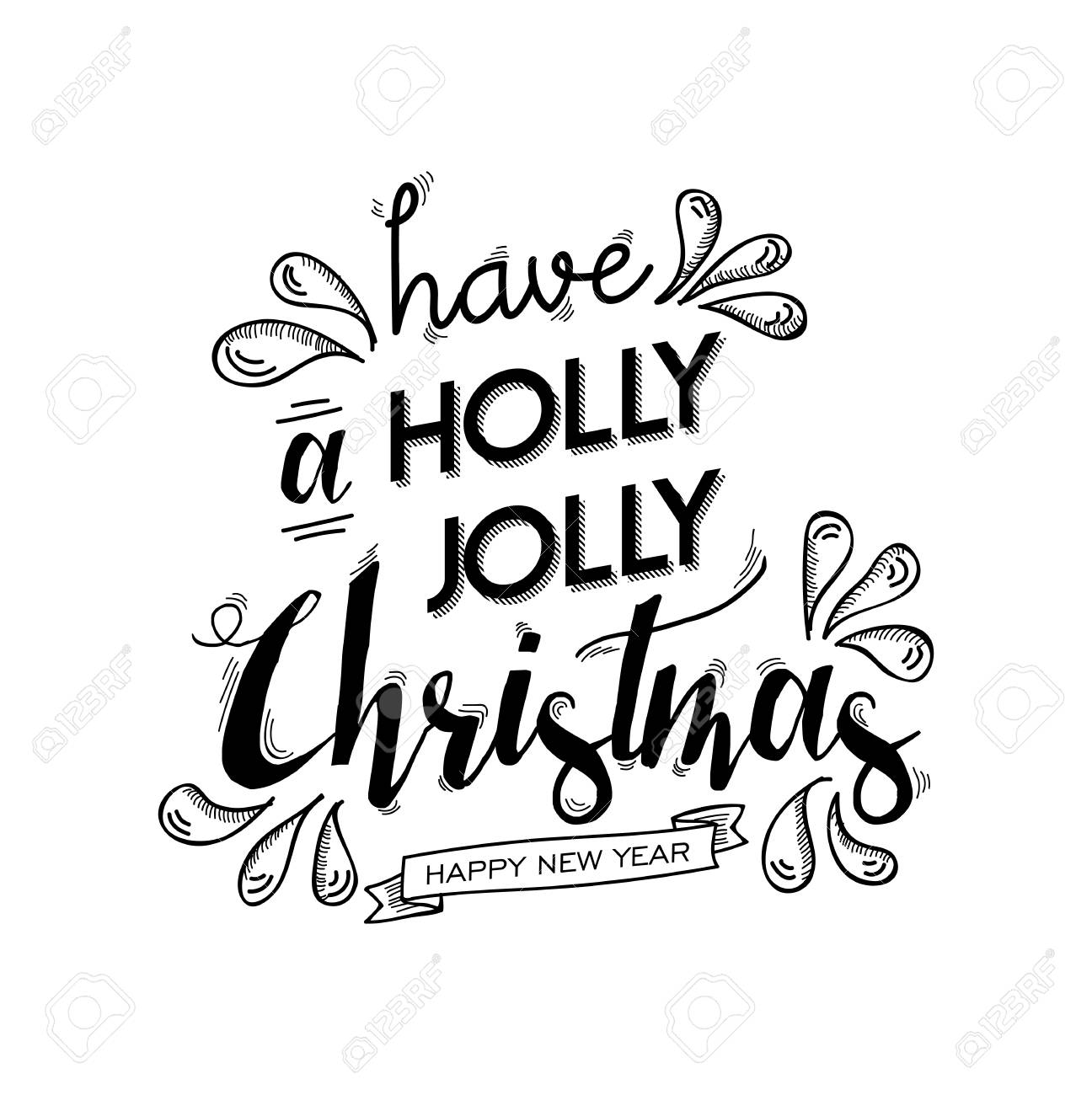 Merry Christmas And Happy New Year Wish Lettering Design. Xmas ...