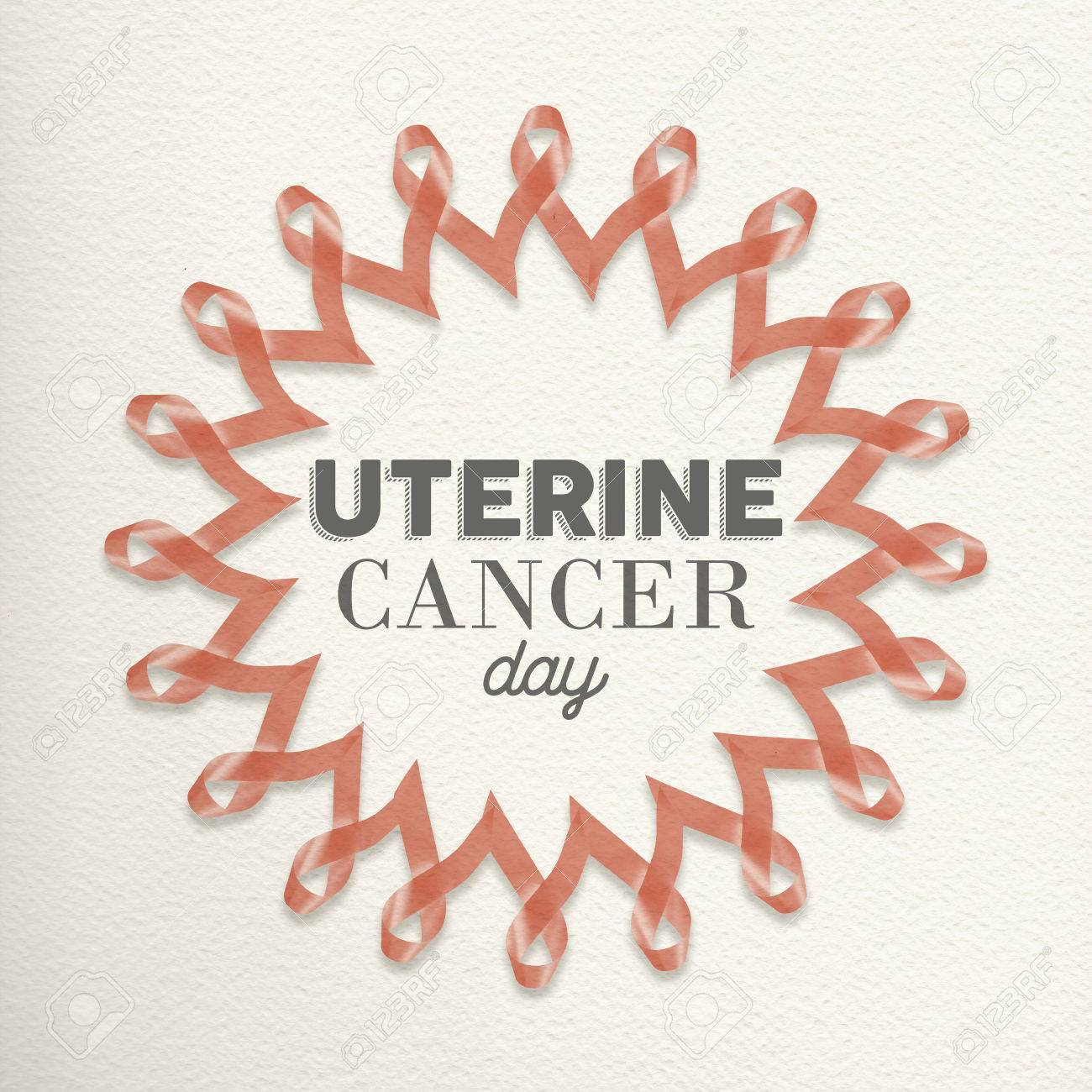 Uterine Cancer Day Mandala Design Made Of Peach Pink Ribbons With ...
