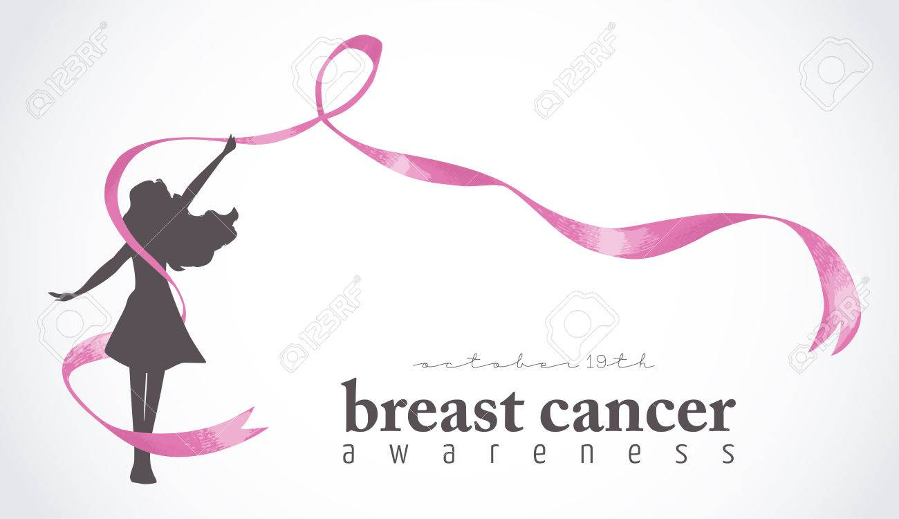Healthy Woman Silhouette With Pink Ribbon In Support Of Breast Royalty Free Cliparts Vectors And Stock Illustration Image 60550048
